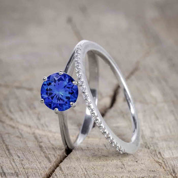 Unique 1.25 Carat Round Cut Sapphire and Diamond Bridal Ring Set in White Gold