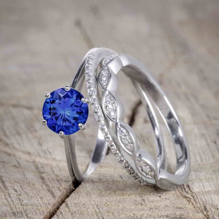 1.50 Carat Round Cut Sapphire and Diamond Trio Wedding Ring Set for Women in White Gold