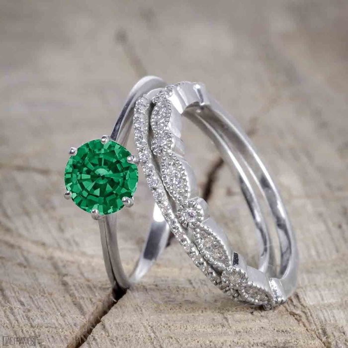 Bestselling 1.50 Carat Wedding Ring Set with Emerald and Diamond for Women in White Gold