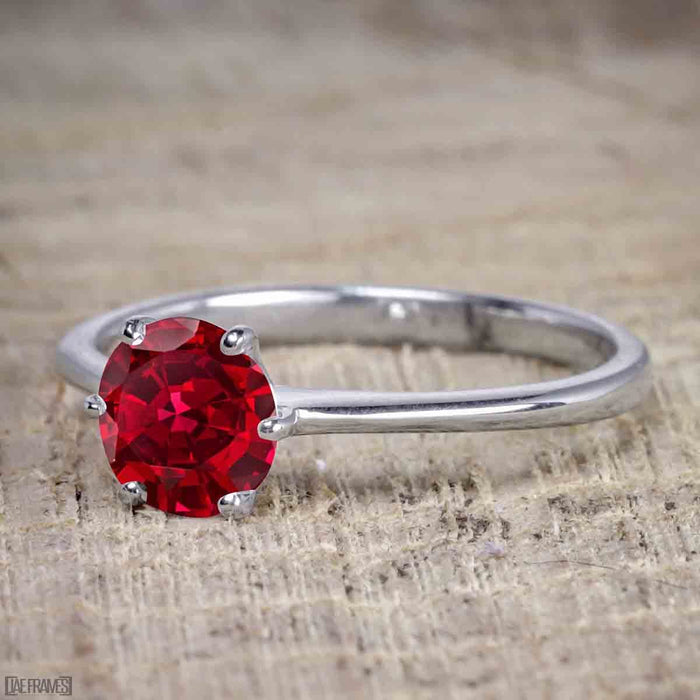 1 Carat Round cut Ruby Solitaire Engagement Ring in White Gold