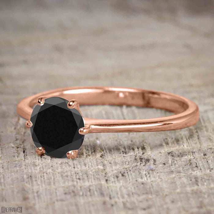 1 Carat Round Cut Black Diamond Solitaire Engagement Ring in Rose Gold