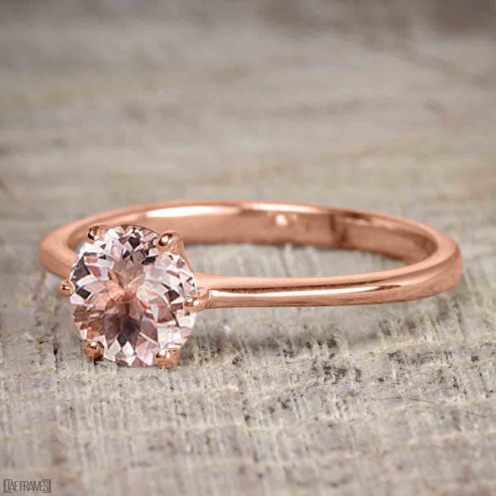 1 Carat Round Cut Morganite Solitaire Engagement Ring in Rose Gold