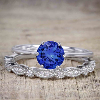 Art Deco 1.25 Carat Round Cut Sapphire and Diamond Wedding Ring Set in White Gold