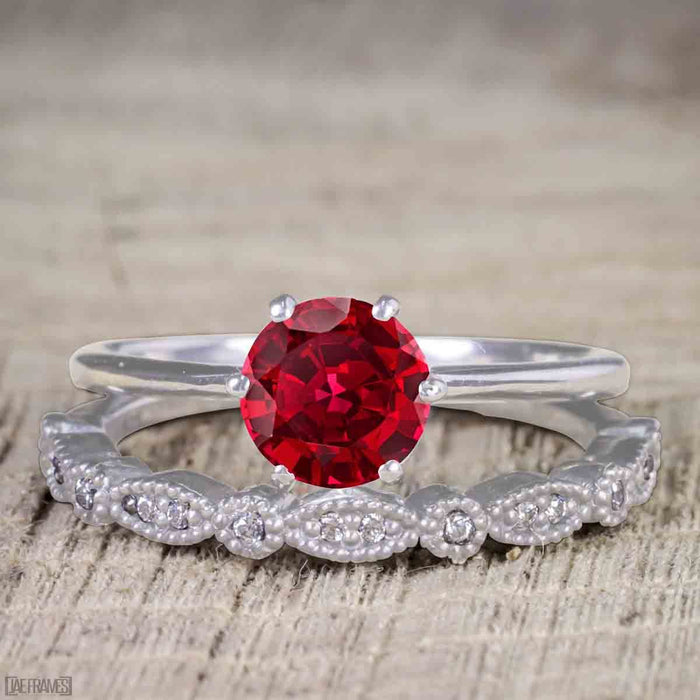 Artdeco 1.25 Carat Round cut Ruby and Diamond Wedding Bridal Ring Set in White Gold