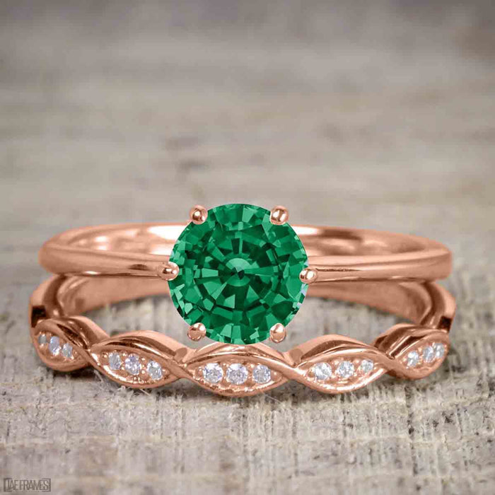 Artdeco 1.50 Carat Round cut Emerald and Diamond Trio Wedding Bridal Ring Set Rose Gold