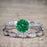 Artdeco 1.50 Carat Round cut Emerald and Diamond Trio Wedding Bridal Ring Set White Gold