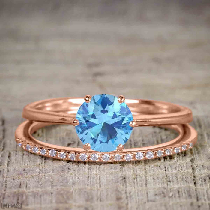 Perfect 1.25 Carat Round Cut Aquamarine and Diamond Bridal Ring Set in Rose Gold
