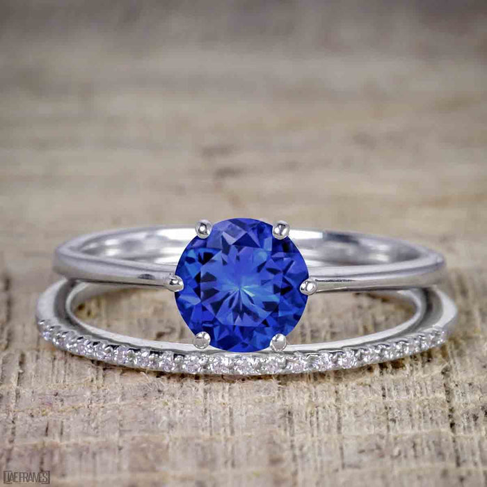 Perfect 1.25 Carat Round Cut Sapphire and Diamond Bridal Ring Set in White Gold