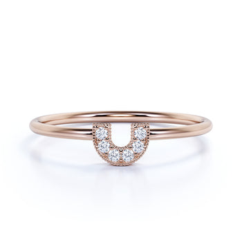 U Shaped Stacking Ring with Round Cut Diamonds in Rose Gold