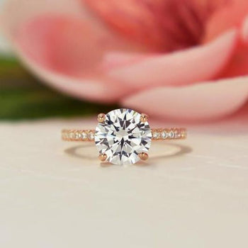 2.25 Carat Round Cut Accented Engagement Ring in Rose Gold over Sterling Silver
