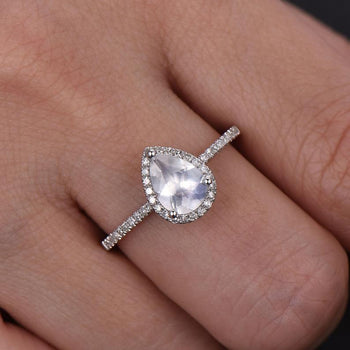 Pave Setting 1.50 Carat Pear Shape Blue Moonstone and Diamond Halo Engagement Ring in White Gold