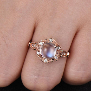 Vintage Style 1.50 Carat Cabochon Cut Rainbow Moonstone and Diamond Engagement Ring in Rose Gold