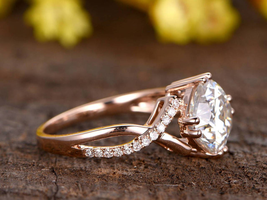 1.50 Carat Round Cut Moissanite and Diamond Engagement Ring in 9k Rose Gold