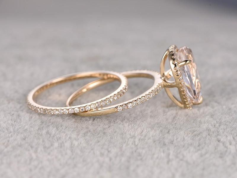 Big 3 Carat Pear Cut Morganite and Diamond Bridal Ring Set in Yellow Gold