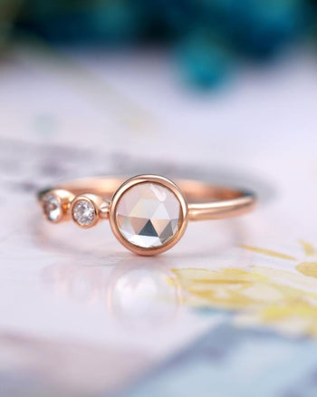 Trilogy Bezel 1.10 Carat Round Cut Rainbow Moonstone and Diamond 3 Stone Engagement Ring in Rose Gold