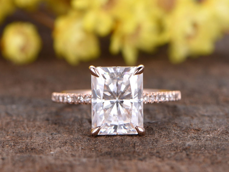 1.25 Carat Emerald Cut Moissanite and Diamond Wedding Ring in Rose Gold