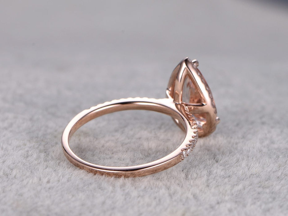 Huge 3 Carat Pear Cut Morganite and Diamond Halo Engagement Ring in Rose Gold