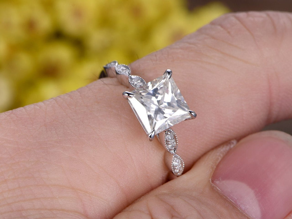 1.50 Carat Princess Cut Moissanite and Diamond Engagement ring for Her in White Gold
