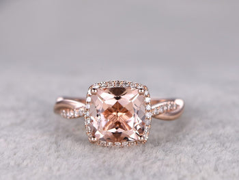 Big 2.50 Carat Cushion Cut Morganite and Diamond Split Shank Infinity Engagement Ring in Rose Gold