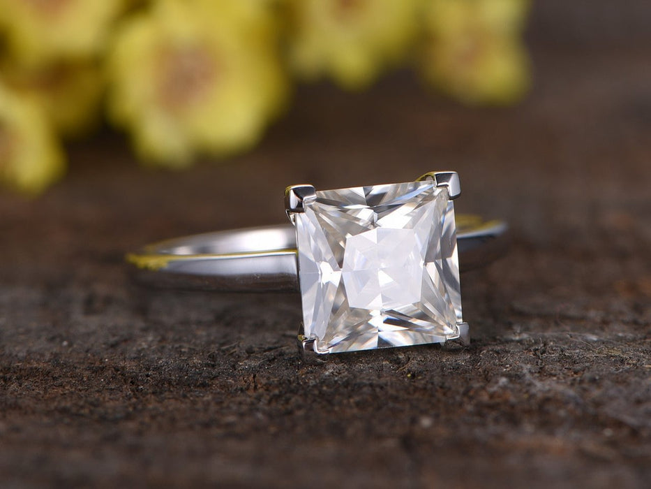 2 Carat Princess Cut Solitaire Moissanite Engagement Ring in White Gold