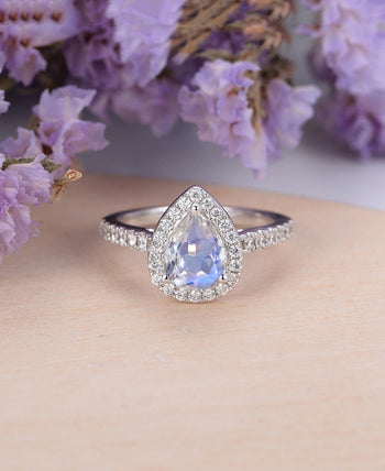 Elegant Pave 1.50 Carat Pear Shape Rainbow Moonstone and Diamond Halo Engagement Ring in White Gold