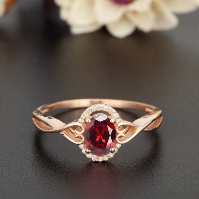 1.25 Carat Oval Cut Ruby and Diamond Engagement Ring in 9k Rose Gold for Modern Brides