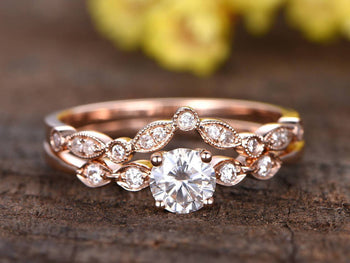 1.50 Carat Art Deco Antique Round Cut Moissanite and Diamond Wedding Ring Set in Rose Gold