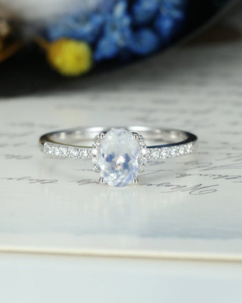 Unique Pave 1.25 Carat Oval Cut Blue Moonstone and Diamond Engagement Ring in White Gold
