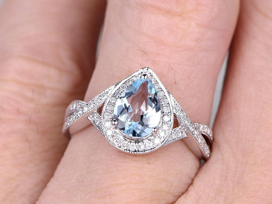 2 Carat Pear Cut Aquamarine and Diamond Wedding Ring in White Gold