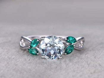 Infinity 1.50 Carat Round Cut Aquamarine and Emerald in White Gold