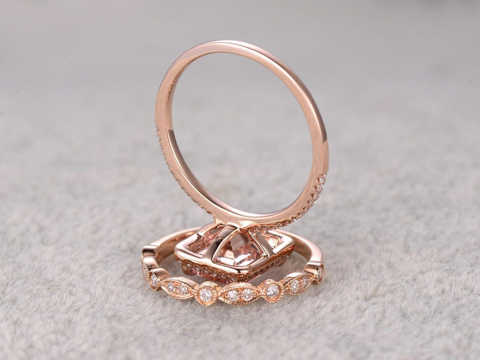 Art Deco 2 Carat Emerald Cut Morganite and Diamond Bridal Set in Rose Gold