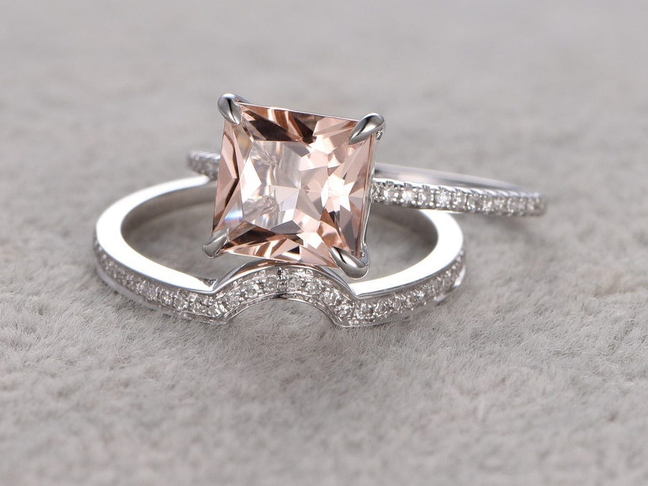 Luxurious 1.50 Carat Princess Cut Morganite and Diamond Bridal Ring Set in White Gold