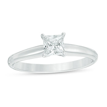 1/4 CT. T.W. Princess Cut Diamond Aesthetic Engagement Ring in White Gold