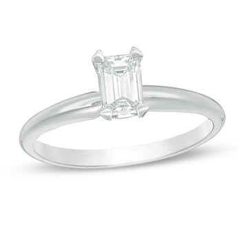 1/4 CT.T.W. Emerald Cut Diamond Aesthetic Engagement Ring in White Gold