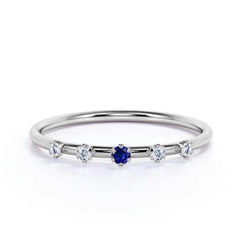 5 Stone Sapphire and Diamond Stacking Wedding Ring with Round Diamonds in White Gold