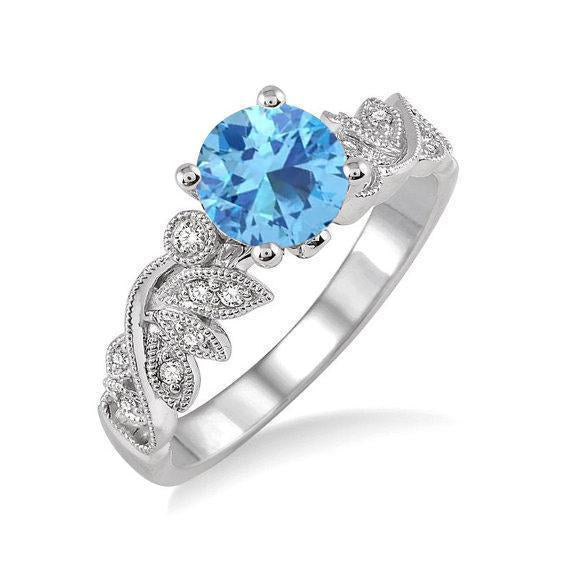 1.25 Carat Round cut Aquamarine and Diamond Engagement Ring for Her in White Gold