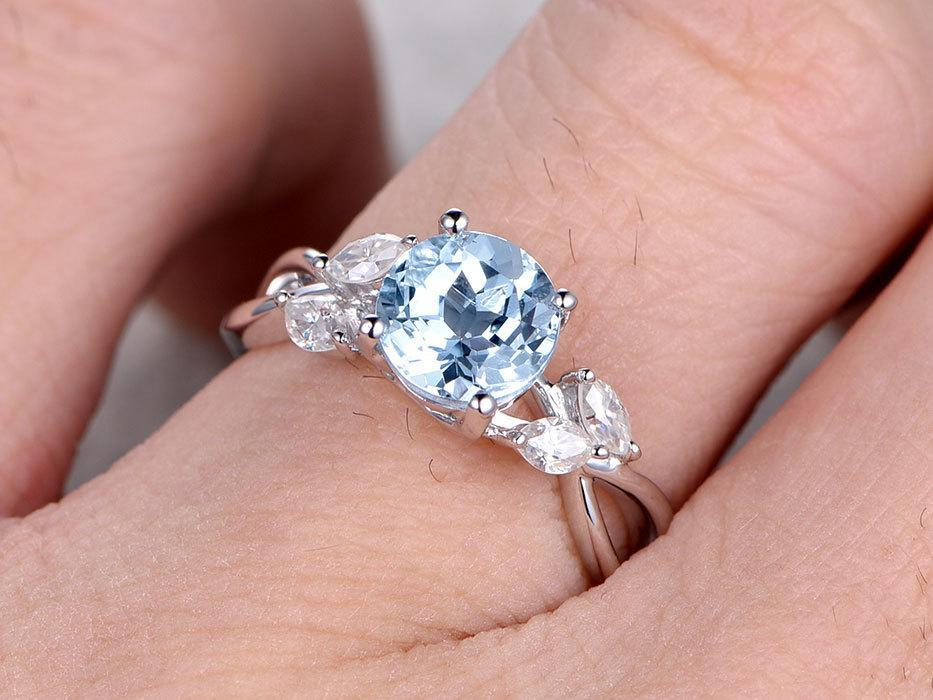 1.25 Carat Round Cut Aquamarine and Marquise Diamond Engagement Ring in White Gold
