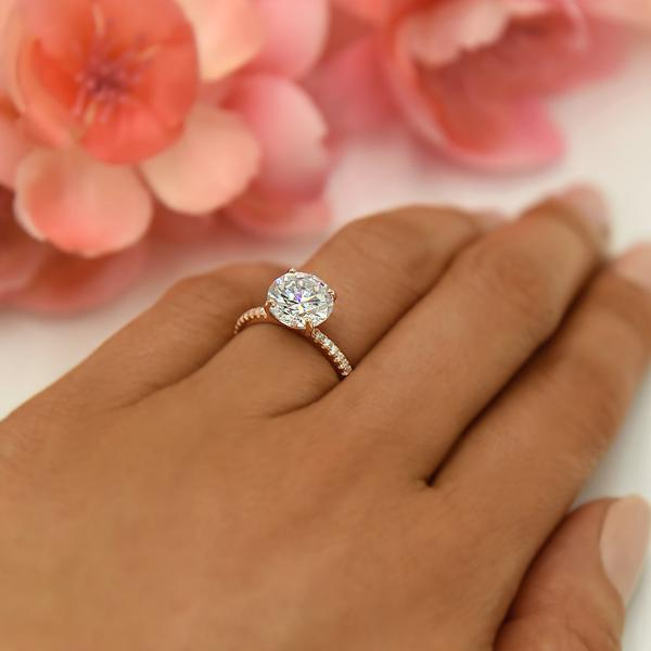 Accented 3.25 Carat Round Cut Engagement Ring in Rose Gold over Sterling Silver