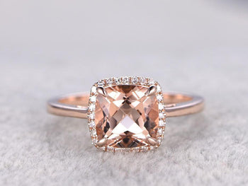 Solitaire Cushion Cut 1.25 Carat Morganite and Diamond Engagement Ring in Rose Gold