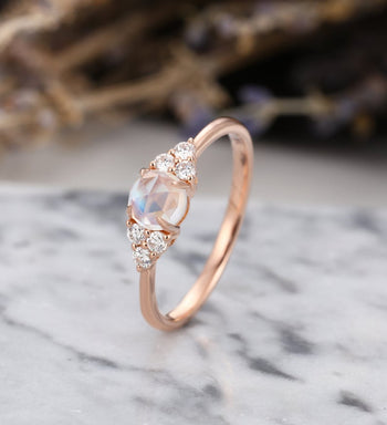 7 Stone 1.10 Carat Round Cut Rainbow Moonstone and Diamond Engagement Ring in Rose Gold