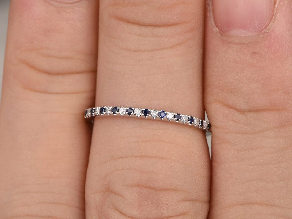 .25 Carat Round Cut Black and White Diamond Wedding Band in White Gold