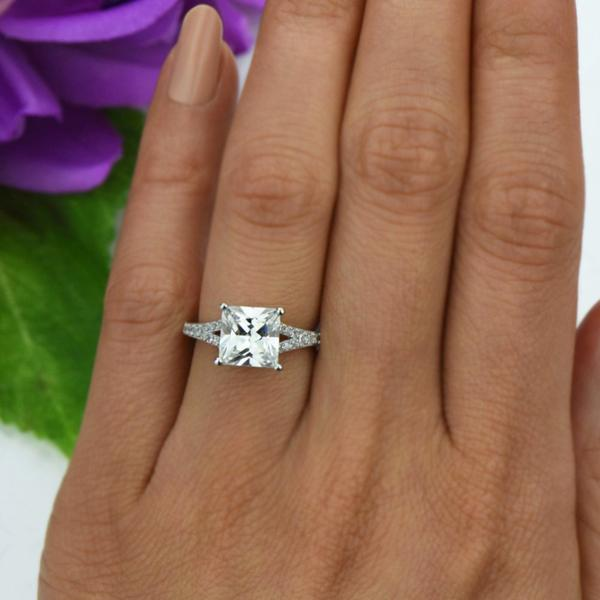 Final Sale: 3.25 Carat Princess Cut Split Shank Engagement Ring in White Gold over Sterling Silver