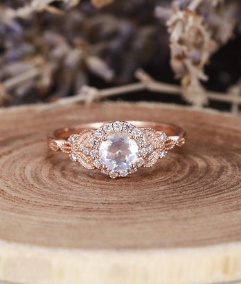 Vintage Design 1.25 Carat Round Cut Rainbow Moonstone and Diamond Halo Engagement Ring in Rose Gold