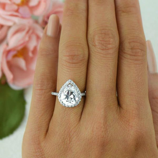3.5 Carat Pear Cut Halo Engagement Ring in White Gold over Sterling Silver