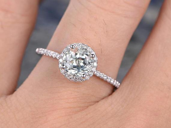 1.25 Carat Halo Round Cut Aquamarine and Diamond Engagement Ring in White Gold