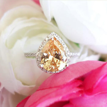 Final Sale: 2.5 Carat Pear Cut Champagne Yellow Halo Engagement Ring in White Gold over Sterling Silver