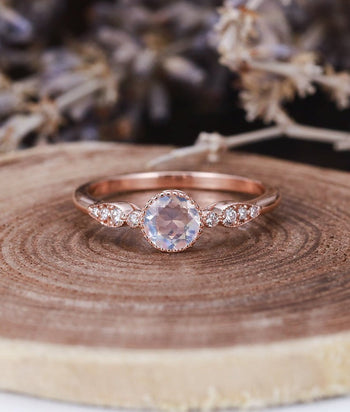 Art Deco Milgrain 1.25 Carat Round Cut Rainbow Moonstone and Diamond Engagement Ring in Rose Gold