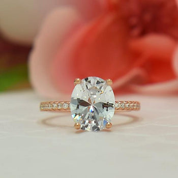 3.25 Carat Oval Cut Accented Engagement Ring in Rose Gold over Sterling Silver