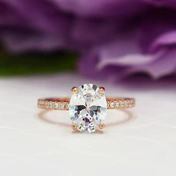 2.25 Carat Oval Cut Accented Engagement Ring in Rose Gold over Sterling Silver