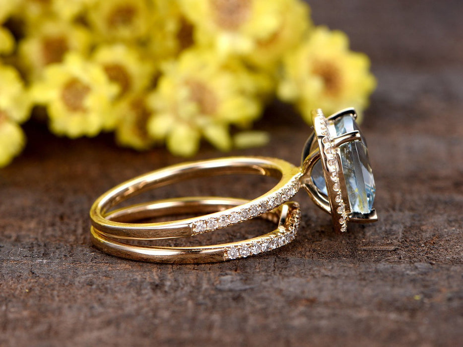 2 Carat Princess Cut Aquamarine and Diamond Halo Wedding Set in Yellow Gold